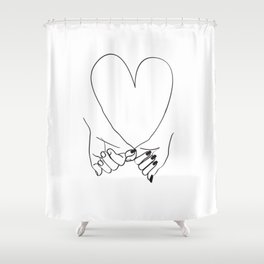 Pinky Promise His and Hers Romantic Love Illustration Shower Curtain