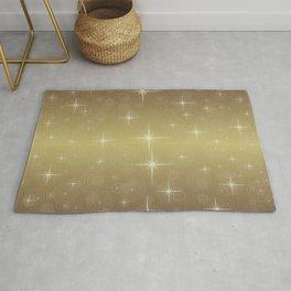 Gold Christmas With Stars Rug