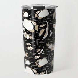 Tropical Angelfish Cool Black and White Pattern Travel Mug