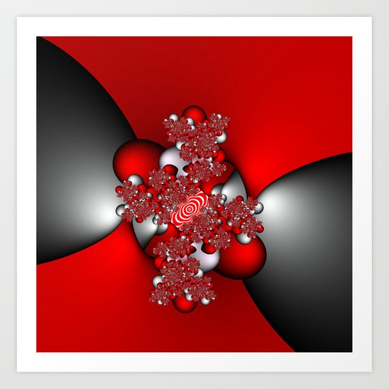 Red and Silver and Black Art Print