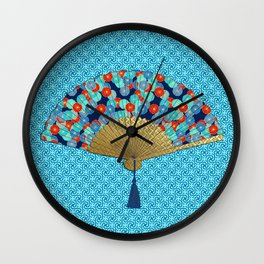 Art Deco Fan in a Flower Pattern, Turquoise and Red Wall Clock