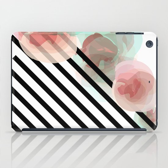 Watercolor Floral with Stripes iPad Case