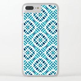 Shibori Watercolour no.7 Turquoise Clear iPhone Case