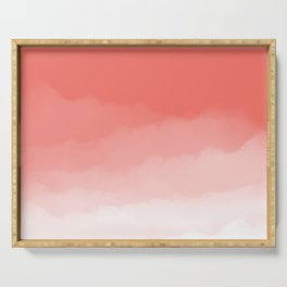 Living Coral Watercolor Ombre (Pantone Living Coral) Serving Tray