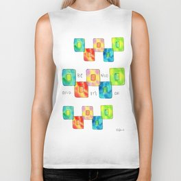 BE YOU AND IT'S OK square pattern inspirational quote abstract painting colorful illustration Biker Tank