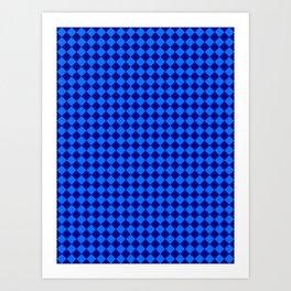 Brandeis Blue and Navy Blue Diamonds Art Print