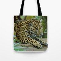 jaguar Tote Bags featuring  Jaguar  by Darren Wilkes Fine Art Images
