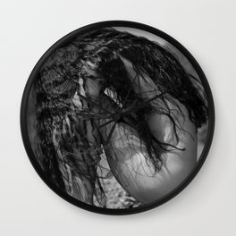 A Million Little Pieces, female brunette nude black and white photograph / black and white photography Wall Clock