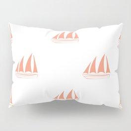Coral Sailboat Pattern Pillow Sham