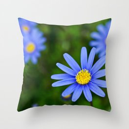 Blue Flower, Yellow Heart Throw Pillow