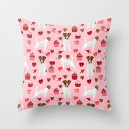 Jack Russell Terrier valentines day cupcakes and hearts love pattern gifts for dog lovers Throw Pillow