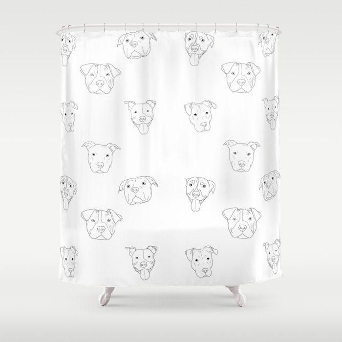 White pit bull love Shower Curtain by cwiltart | Society6