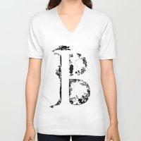 font V-neck T-shirts featuring B FONT by riz lau