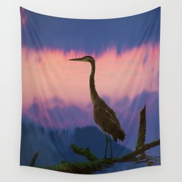 Blue Heron at Sunset Wall Tapestry