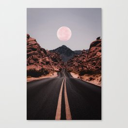 Road Red Moon Canvas Print