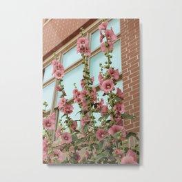 Pink Flowers on Vintage Vines Metal Print