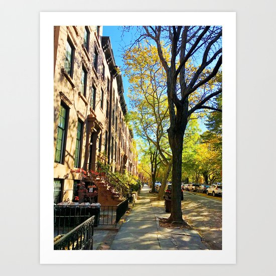 Cobble Hill Brooklyn New York in the Fall, Brownstones Art Print
