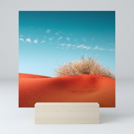 Red Desert Sand With Dusty Bush and Blue Sky Mini Art Print