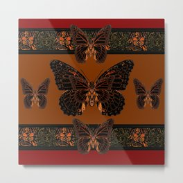 BLACK  MONARCH BUTTERFLIES,COFFEE BROWN-BURGUNDY ART Metal Print