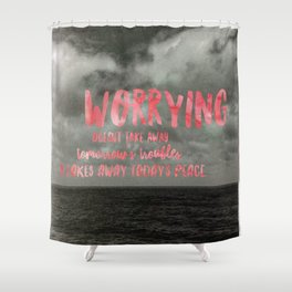 Motivation Poster Black and White Moody Skies with Bright Pink Typography Shower Curtain