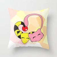 mew Throw Pillows featuring Mew and Ampharos: Heart by Constanzze