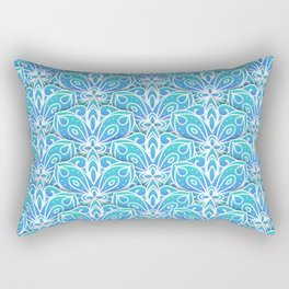 Decorative Layers of Blue Flowers Rectangular Pillow
