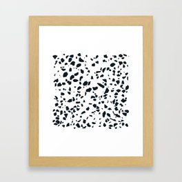 Black and white Terrazzo Asteroids Framed Art Print