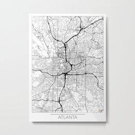 Atlanta Map White Metal Print