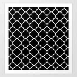 Black & White Moroccan Quatrefoil Design Art Print