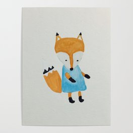 Forest Friends Watercolor Little Fox Poster