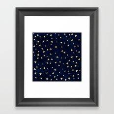 Gold modern triangles geometric on navy blue watercolor pattern Framed Art Print