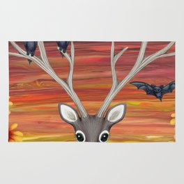 white tailed deer, bats, black eyed susans Rug