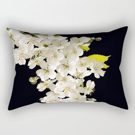 Cherry Flowers On Black Background #decor #society6 #buyart Rectangular Pillow