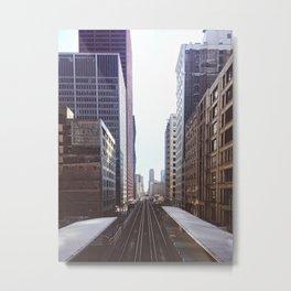 Chicago Loop El Tracks at Dusk Metal Print