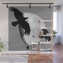 A Murder Of Crows Flying Across The Moon Wall Mural