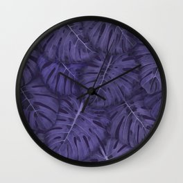 ULTRA VIOLET MONSTERA, by Frank-Joseph Wall Clock