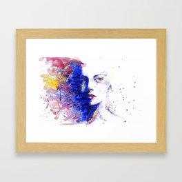 Mina blue half face Framed Art Print