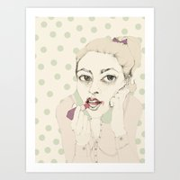 lipstick Art Prints featuring lipstick by Cecilia Sánchez