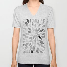 Watercolor brush strokes - black and white Unisex V-Neck