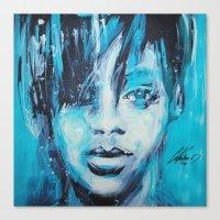 rihanna Canvas Prints featuring Rihanna by Nechifor Ionut