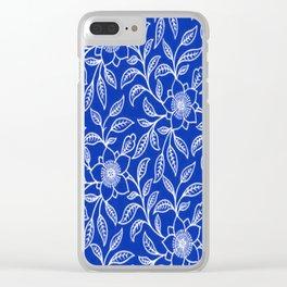 Vintage Lace Floral Sapphire Blue Clear iPhone Case
