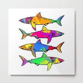 Colorful Sharks Metal Print