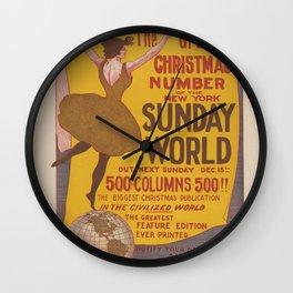 Vintage Poster Print - New York Sunday World, 1895 - 500 Column Christmas Publication, December 15 Wall Clock