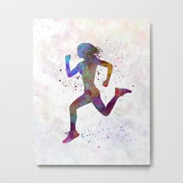 woman runner running jogger jogging silhouette 01 Metal Print