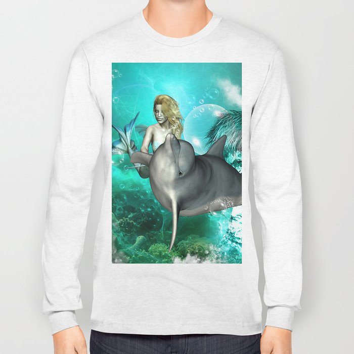 Beautiful mermaid with cute dolphin  Long Sleeve T-shirt