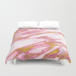 Pink marble with gold Duvet Cover