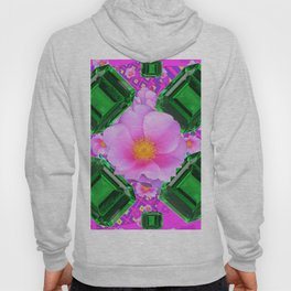 May Green Emerald Gems & Pink Roses Fuchsia Art Hoody