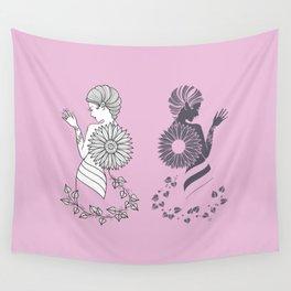 Ladies' Pink Elegance siluette Wall Tapestry