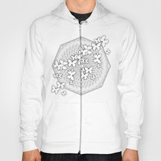 Butterflies and kaleidoscope in gray and white Hoody