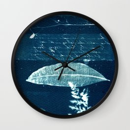 Peotic collection: fern, leaf and poem, collage, blue print, cyanotype print, wall art, wall decor Wall Clock